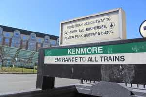 In 1932, the Kenmore portion of the Green Line was put underground, and branch portals opened at Blandford and St. Mary's streets. The 2012 entrance to the MBTA.