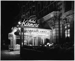 The entrance to the Hotel Kenmore in the 1950s.
