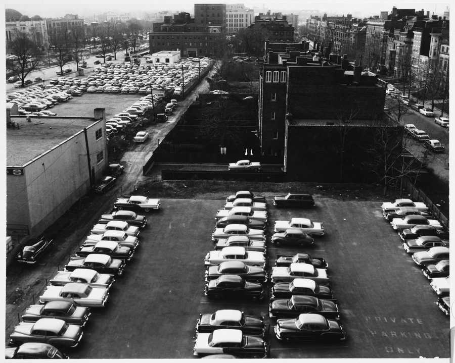 Parking lots off Commonwealth Avenue near Kenmore Square in 1957.