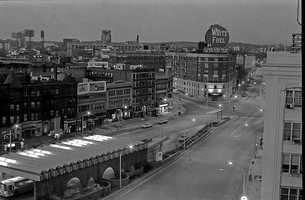 This view shows Kenmore Square in 1970 from the roof of the Myles Standish Hall Boston University dorm.