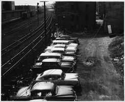 A parking lot behind Kenmore Theater in the 1950s.