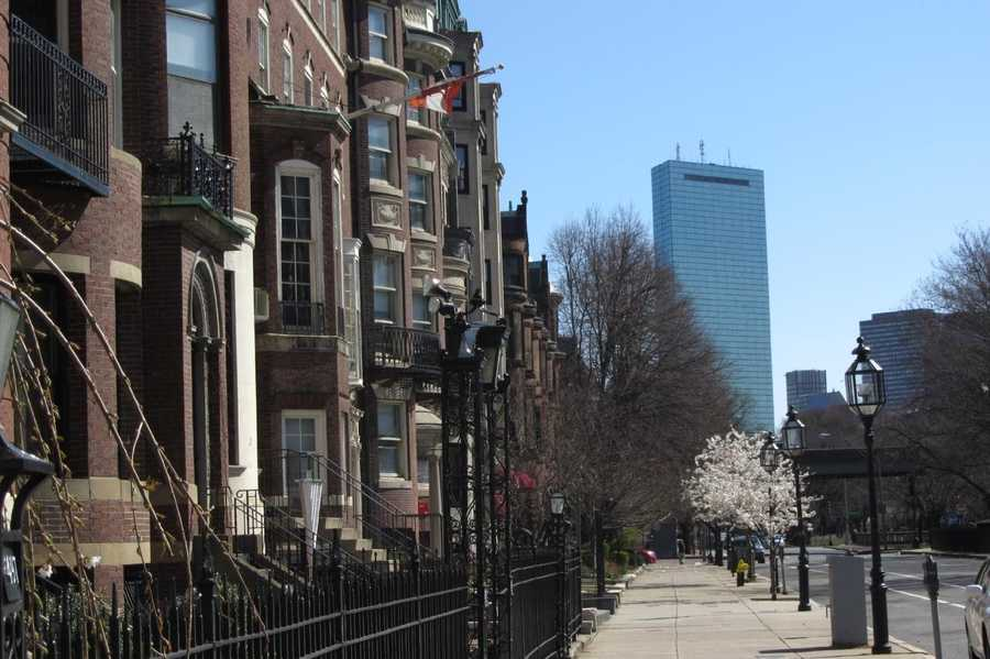 Brownstones line the street along the Commonwealth Avenue Mall.