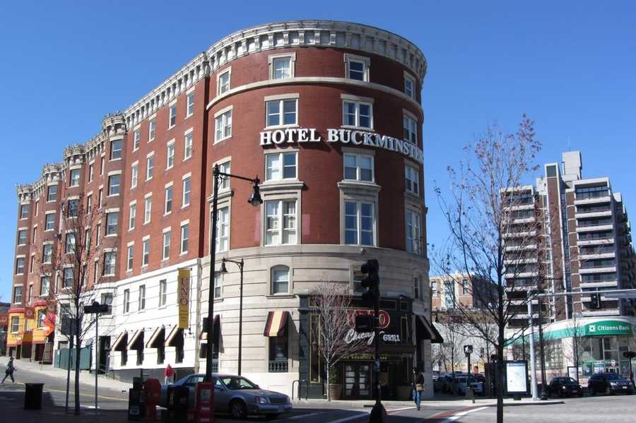 The Buckminster Hotel is at the corner of Beacon Street and Brookline Avenue.