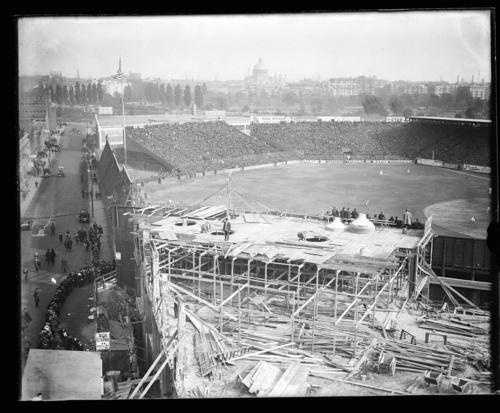This picture from 1912 shows the original park under construction, along with the section of Lansdowne Street that was destroyed in the 1934 fire.
