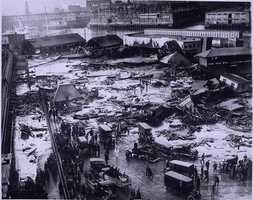 In one of Boston's more unusual disasters, 21 people were killed in a molasses flood in the city's North End in 1919. Take a look at how the neighborhood looked after the flood and how it looks today:
