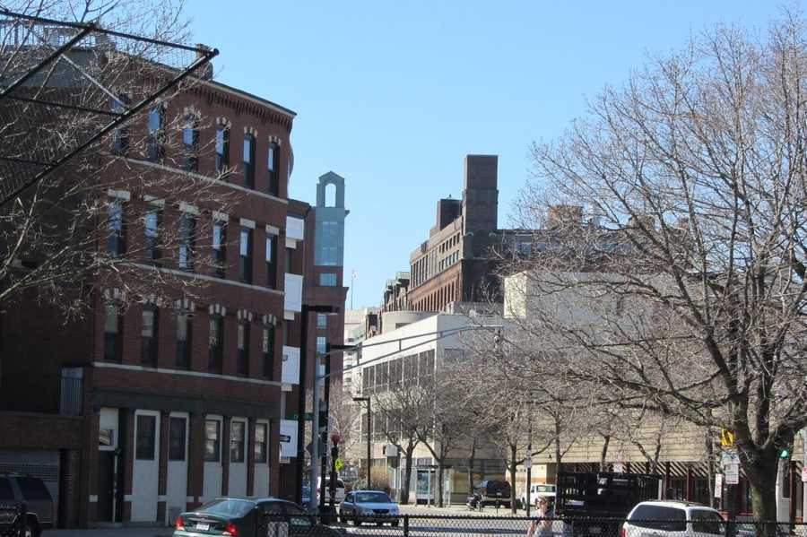 Commercial Street today looking toward the TD Garden from the disaster site. The site of the Clougherty house can be seen on the left.