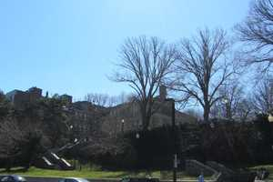 Copps Hill Terrace overlooks the disaster area from across Commercial Street.