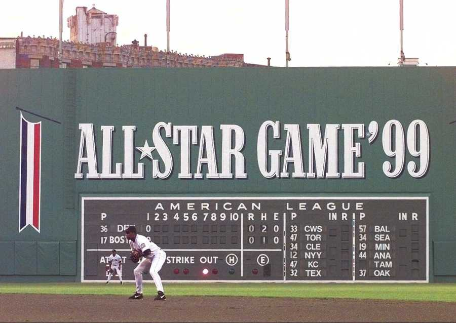 Fenway Park in Boston, featuring the Green Monster, is shown Wednesday, Jan. 16, 2002.