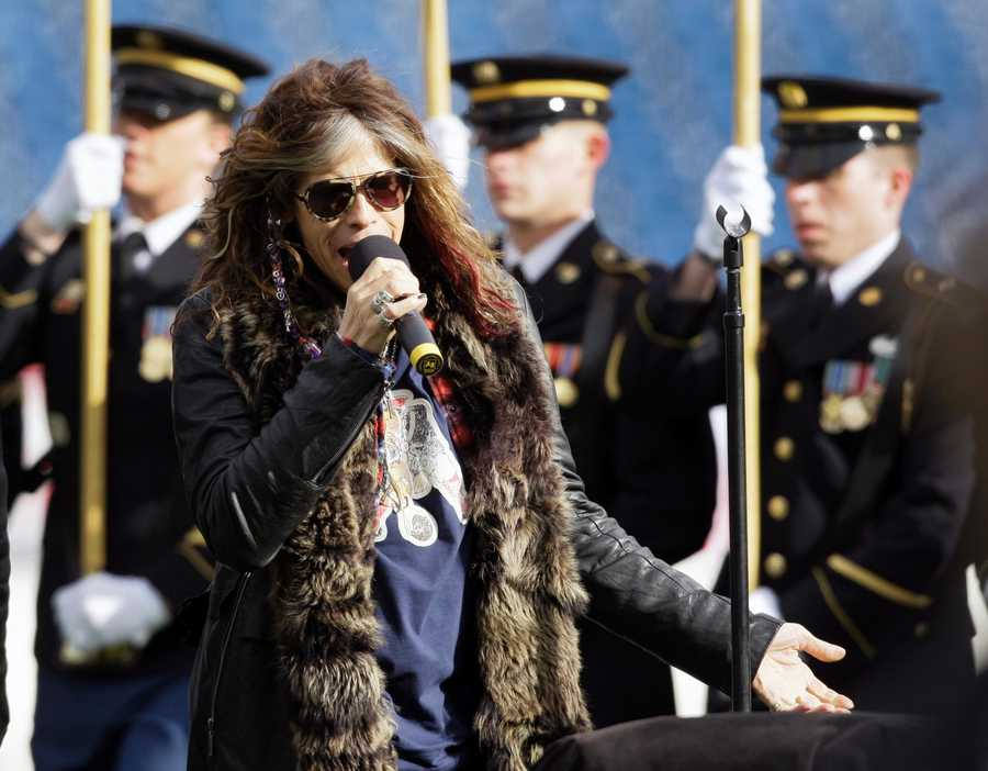 Aerosmith frontman Steven Tyler sang the National Anthem before the 2012 showdown in Foxborough.