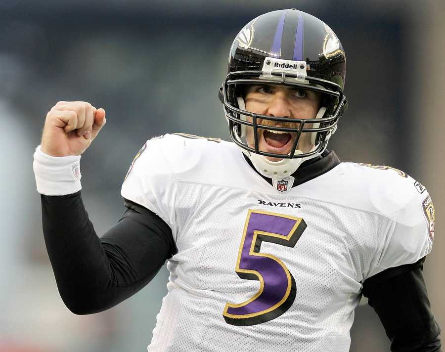 Ravens quarterback Joe Flacco celebrates after his seven yard touchdown pass to Baltimore Ravens tight end Dennis Pitta during the 2012 game.