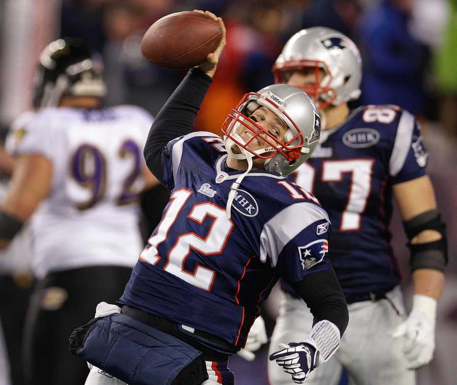 Tom Brady celebrates after scoring a one yard touchdown during the second halfduring the 2012 game
