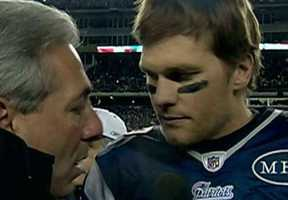 Brady being interviewed after the game.