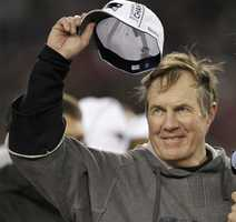 Bill Belichick tips his hat to the crowd during the trophy presentation in 2012.