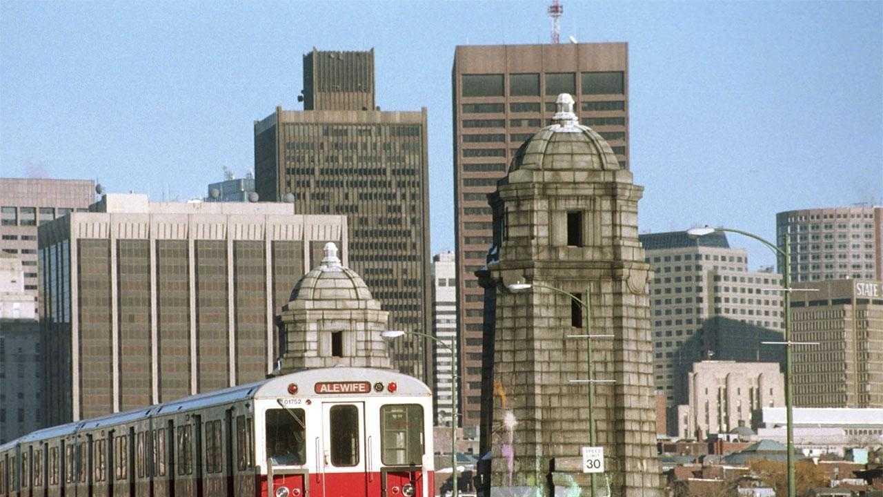 "The MBTA Red Line runs along the iconic ""Salt and Pepper"" Bridge"