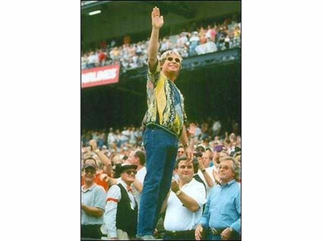 """A Baltimore tradition during the seventh-inning stretch, every Orioles fan sings along with John Denver's """"Thank God I'm a Country Boy."""""""