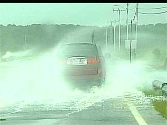 and 2.) pooled water in the left lane can be a hazard to vehicles driving at high speeds.
