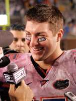 """In 2010, a new rule for the next NCAA football season, dubbed """"The Tebow Rule"""" banned messages on eye paint."""
