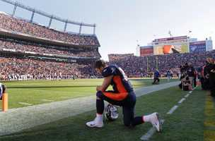 """""""Tebowing"""" was officially recognized as a word in the English language by the Global Language Monitor. It refers to the act of taking a knee in prayer during a game."""