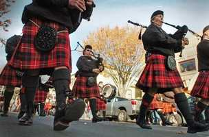 Members of the Colum Cille Pipes and Drums of Cape Cod.