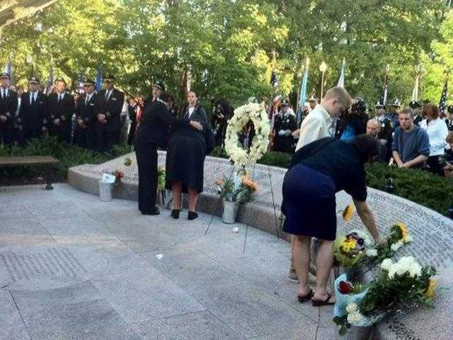 Family members touched the names on the memorial at the Boston Public Garden on the 10th anniversary of Sept. 11.