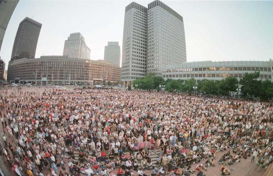 Thousands of people are shown during an interfaith vigil of prayer and solidarity on the plaza at Boston City Hall, Sept. 13, 2001.