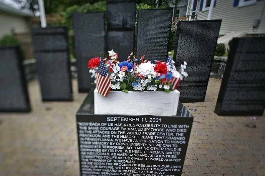 The memorial has black granite columns which list the names of every victim of the attacks, at a cost of over $85,000.