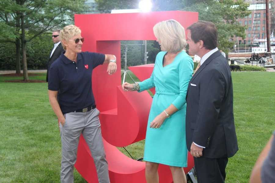 Ellen Degeneres, Ed Harding and Heather Unruh tape a promotional spot in Boston.