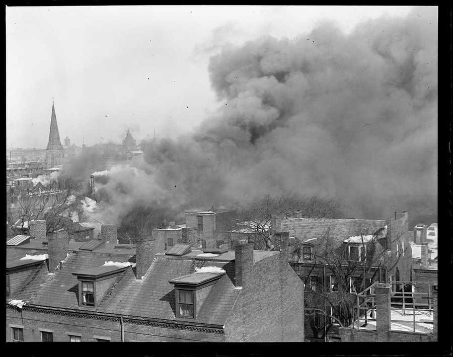 His classic photos of Boston fires are republished here with permission of the Boston Public Library and his family.