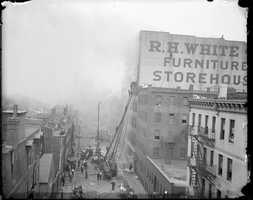 Two alarm fire at R.H. White Co., Harrison Avenue in 1915