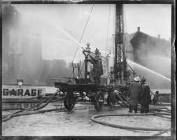 Fighting the fire at the Back Bay railroad station 1928