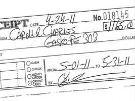 They paid in cash. A rent receipt for May 2011's rent.