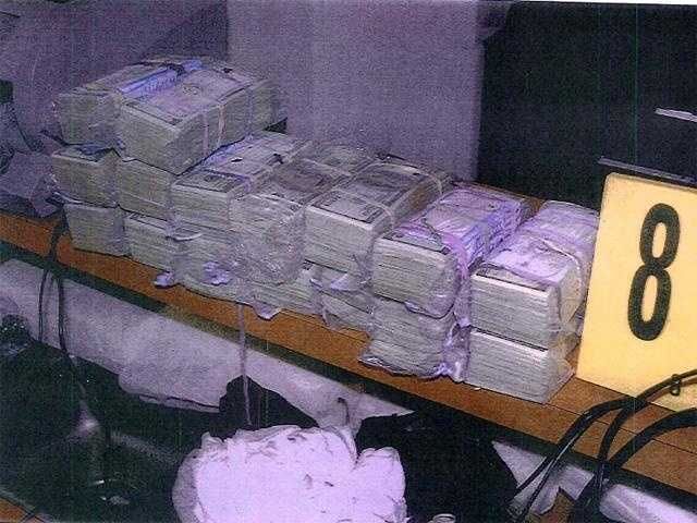 Cash found hidden inside a wall of Bulger's Santa Monica apartment.