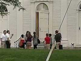 Mourners gathered at a local church in Wayland.