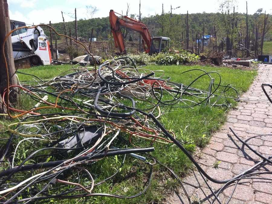 Wires, trees and buildings were ripped down in Monson.
