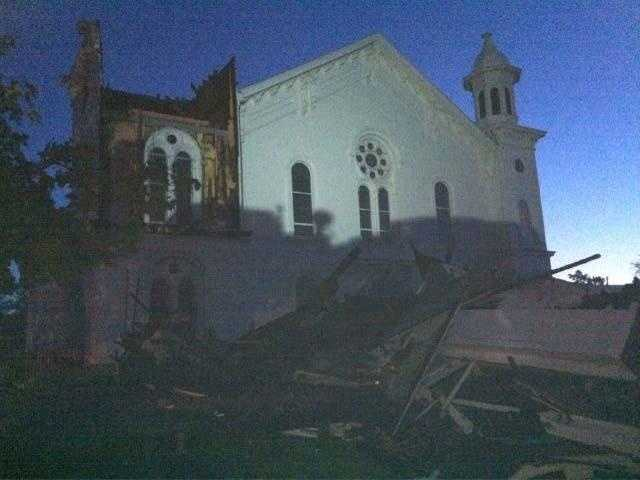 A damaged church in Monson