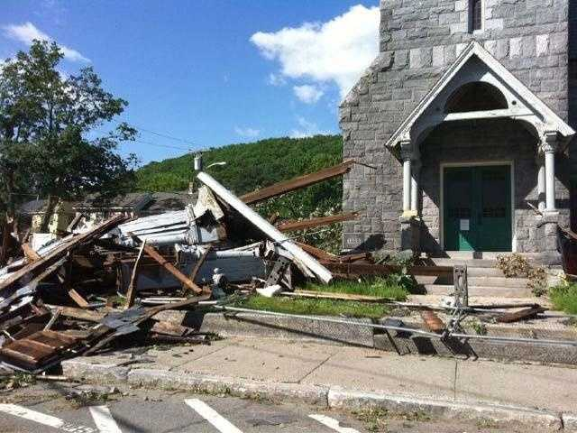Another church steeple toppled in Monson