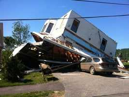 This home in Monson was toppled by the storm.