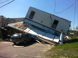 This Monson home was literally turned upside down.