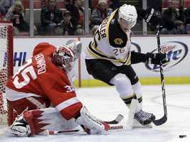 Boston Bruins right wing Blake Wheeler (26) controls the puck in front of Detroit Red Wings goalie Jimmy Howard (35) during the first period of an NHL hockey game in Detroit, Sunday, Feb. 13, 2011.