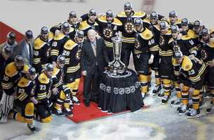 Prince of Whales Trophy is presented to the Eastern Conference finals Champion Bruins.