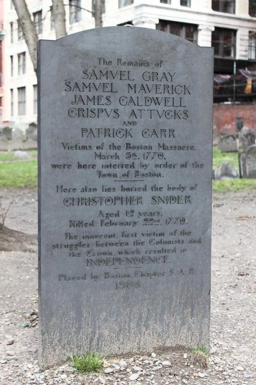 Crispus Attucks (1723-1770), African-American victim of the Boston Massacre, in a common grave with 4 other victims.