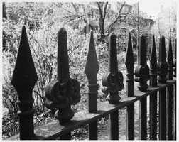 The ornate fence that surrounds the cemetery.