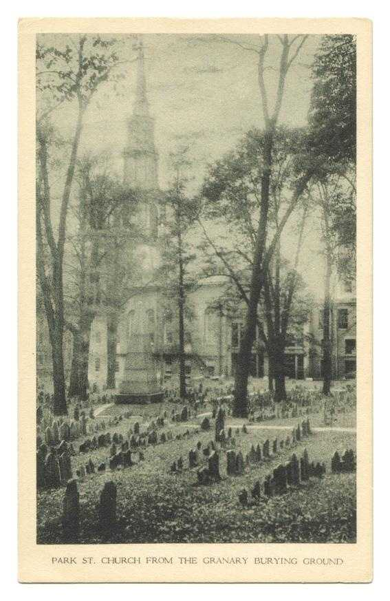 An old postcard of the Granary Burying Ground, with the Park Street Church