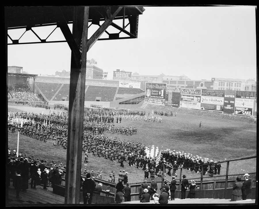In the past century, Fenway has hosted concerts, ice hockey and religious ceremonies -- like the one pictured here c. 1918