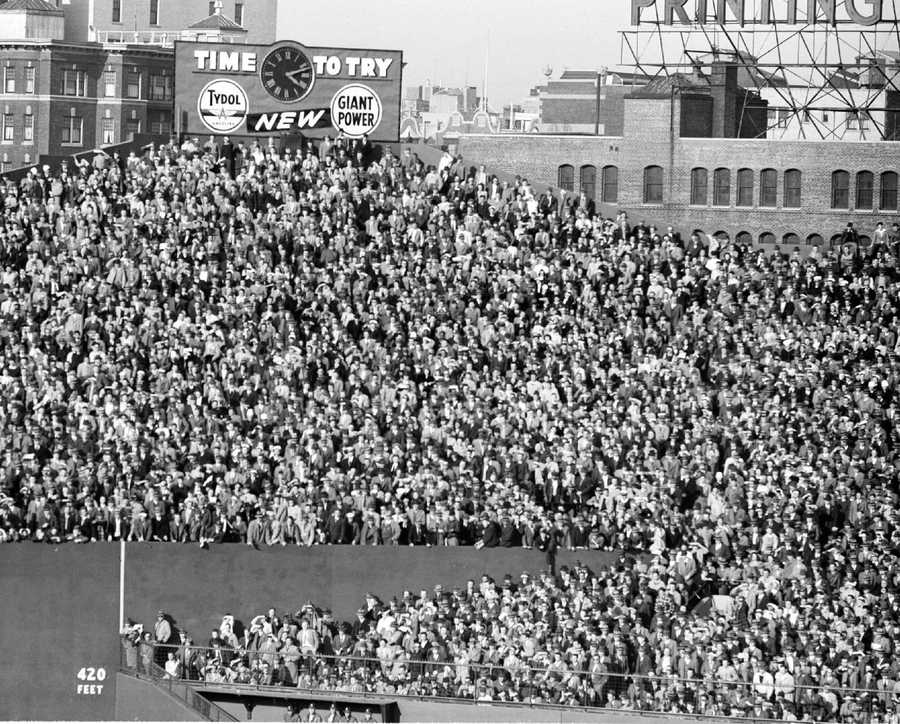 This view shows part of the record 33,279 fans at the end of the Boston Red Sox and Boston Braves intra-city series in Fenway Park in Boston, April 14, 1946. The Red Sox beat the Braves, 19-5.
