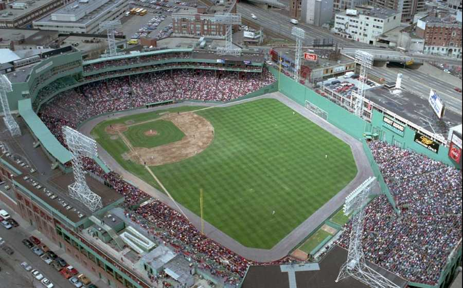This is an April 1994 photo showing an aerial view of the Boston Red Sox Fenway Park which opened for its first game April 20, 1912, making it one of the nation's oldest stadiums.