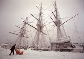 The top section of the USS Constitution's foremast snapped during the fierce blowing snowstorm.