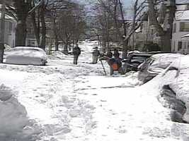 The National Guard was called in to clear Boston roads.