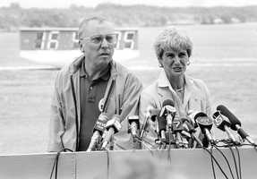 Ed and Grace Corrigan, parents of Christa McAuliffe, meet with reporters at the Kennedy Space Center before the launch.