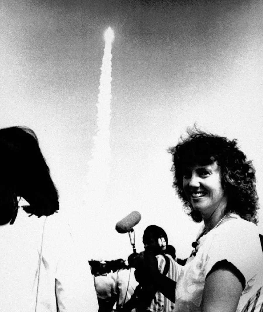 Christa McAuliffe is seen watching the October 1985 launch of the Challenger.